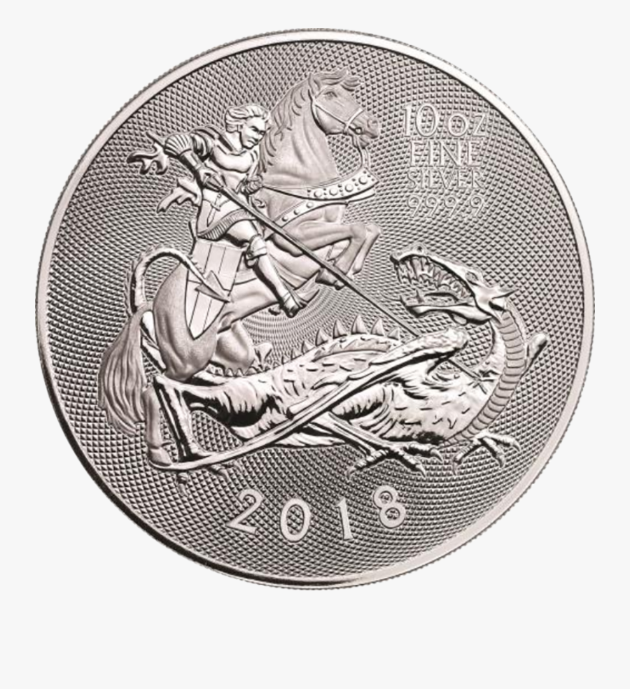 Transparent Silver Coin Clipart - 2018 Royal Mint Valiant 10 Oz Silver Coin, Transparent Clipart