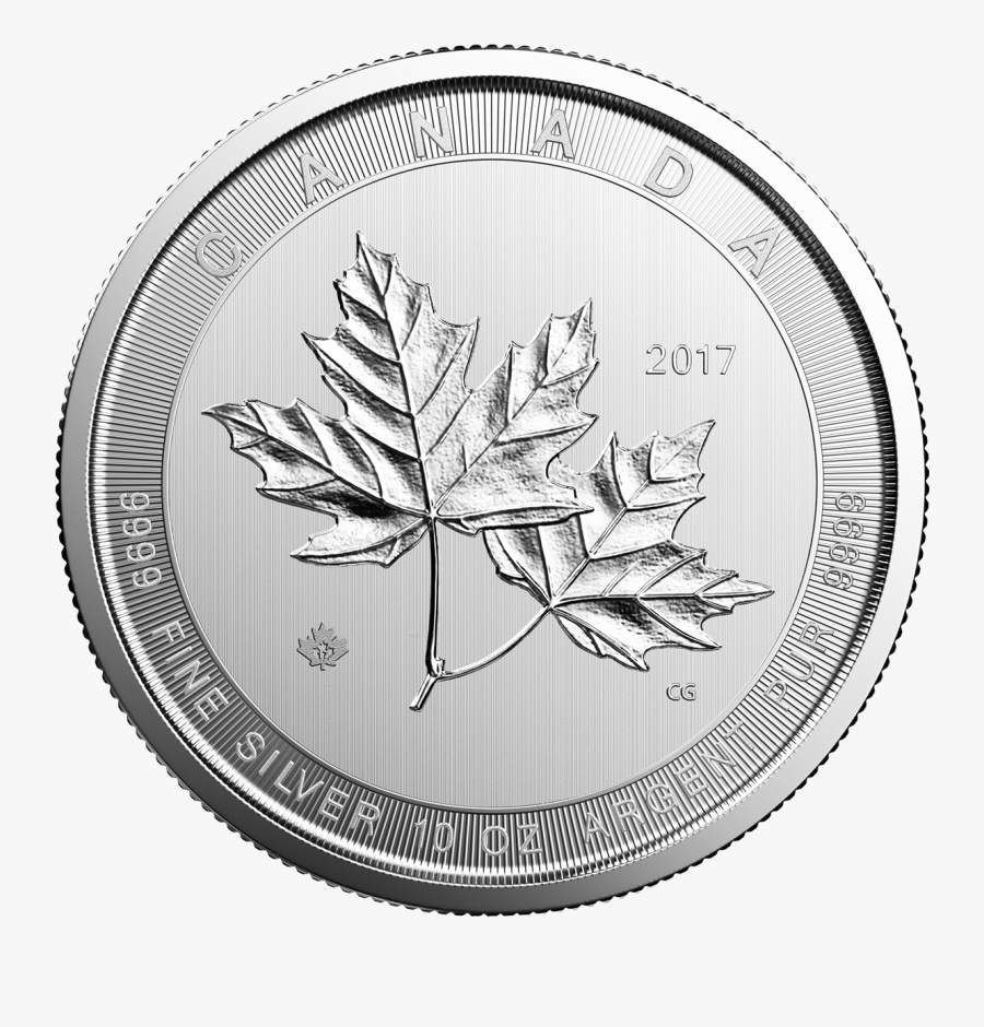 Maple Leaf Oz Silver - 10 Oz Silver Canadian Magnificent Maple Leaf, Transparent Clipart