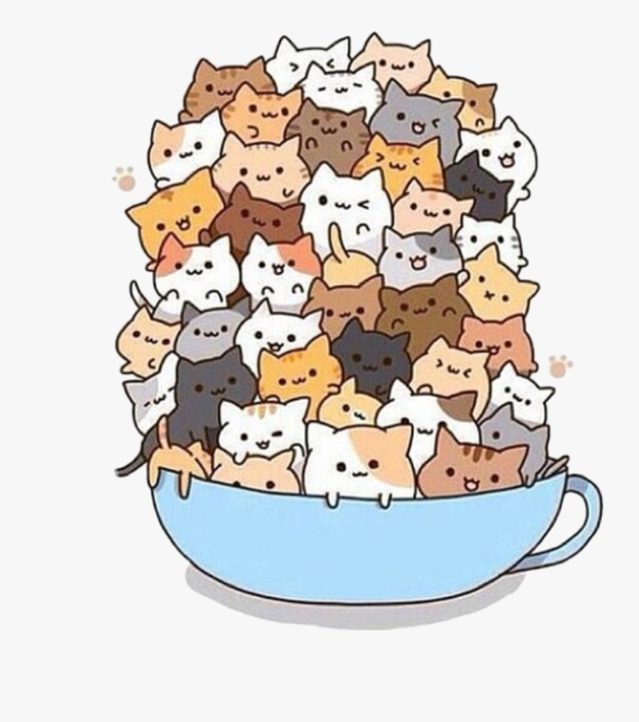 #cats #cat #cup #cool #cute #catsincup #smile #sticker - Kawaii Cute Anime Cats, Transparent Clipart