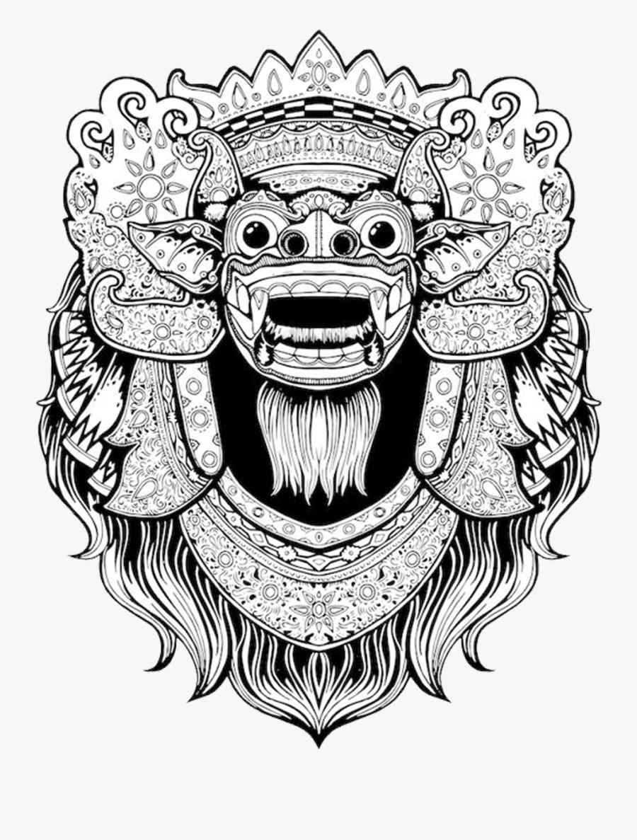 Balinese Art Bali Barong T-shirt Drawing Clipart - Barong Drawing, Transparent Clipart