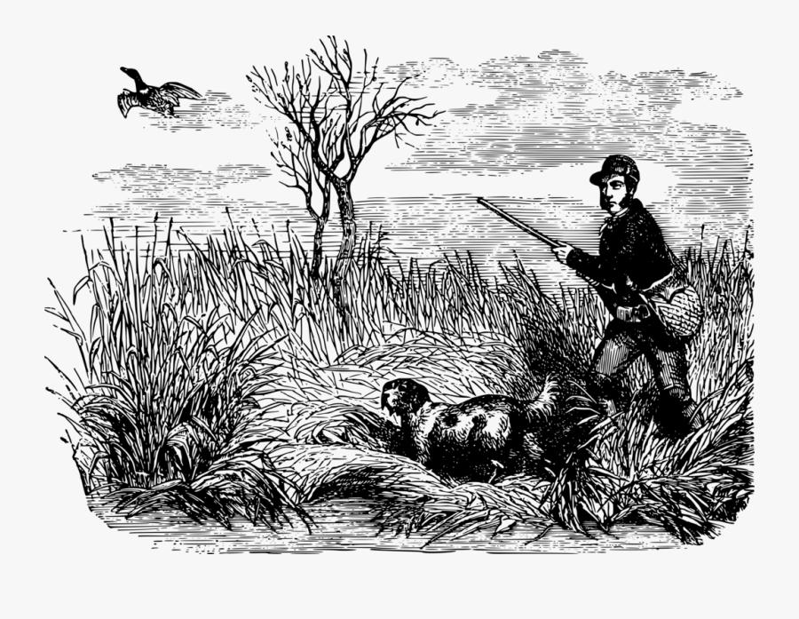 Flightless Bird,grass Family,water Bird - Black And White Duck Hunt Clipart, Transparent Clipart