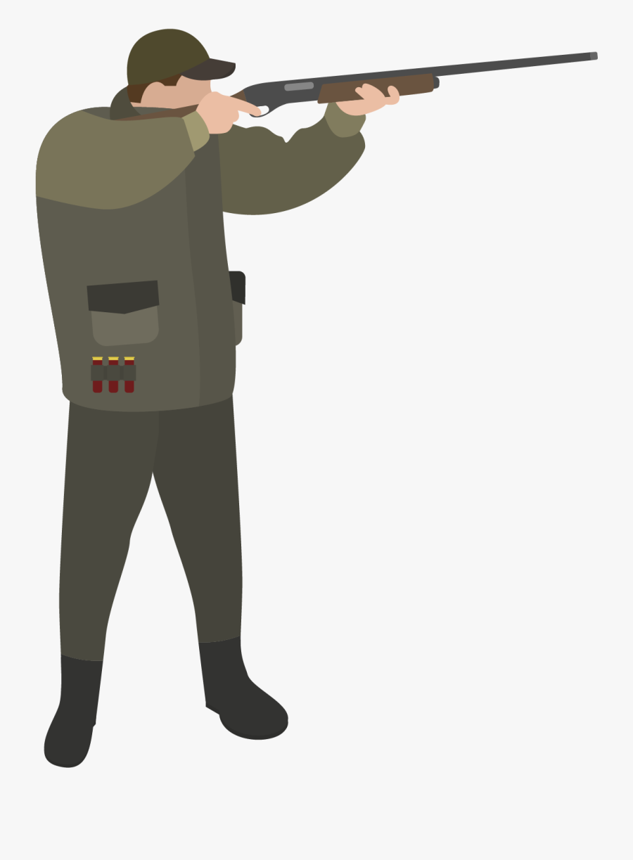 Hunter Vector Gun Cartoon - Hunter With Rifle Cartoon, Transparent Clipart