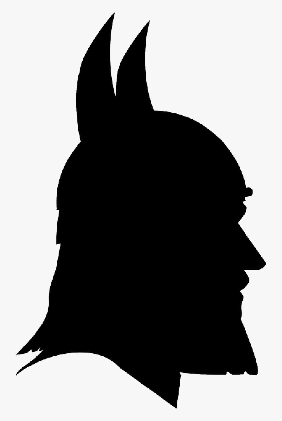 Portrait, Man, Profile, Norse, Viking, Warrior - Silhouette Of A Viking, Transparent Clipart