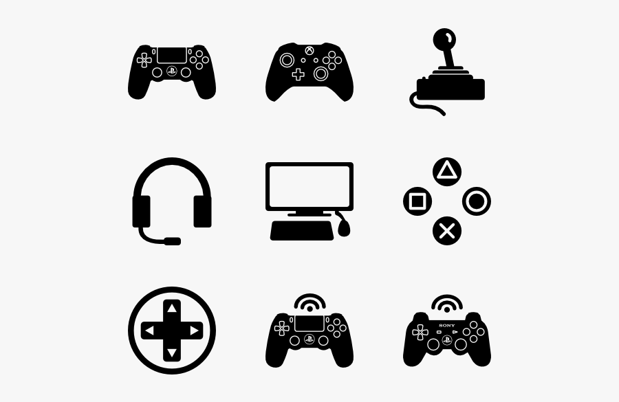 Video Game Controller Icons, Transparent Clipart