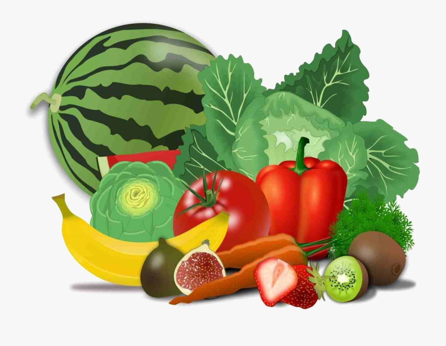 Healthy Food Png Transparent Images - Fruits And Vegetables Drawing, Transparent Clipart