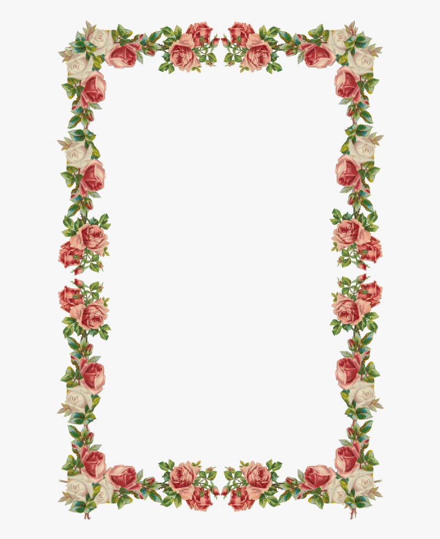 Free Digital Vintage Rose Frame And Border Png - Border Frame Flower Vintage, Transparent Clipart