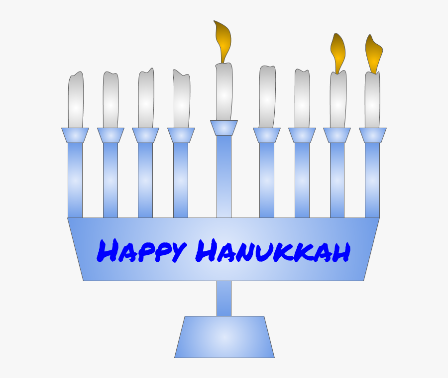Menorah, Hanukkah, Second Night Candle Lit, Blue - Graphic Design, Transparent Clipart