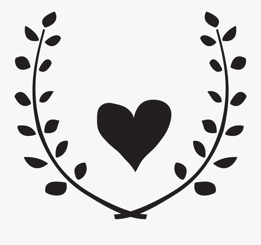 Heart Garland Monogram Free Cut File Vector Black And - Heart Wreath Clipart, Transparent Clipart