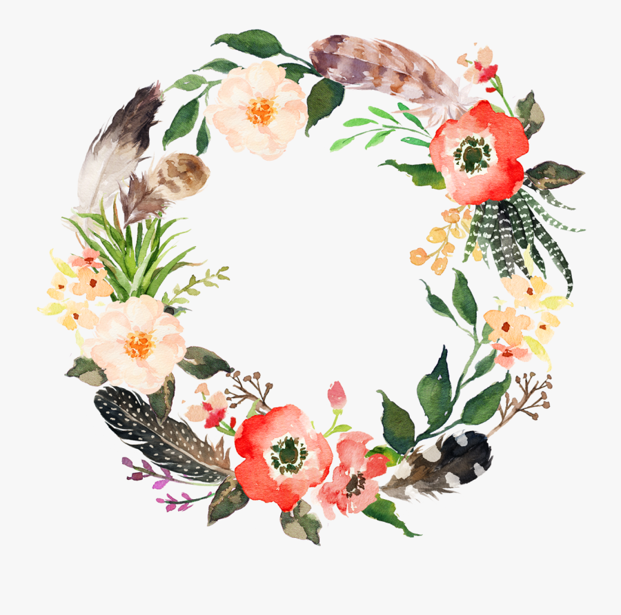 Flower Wreath Watercolor Painting Garland - Flower Wreath Watercolor Png, Transparent Clipart