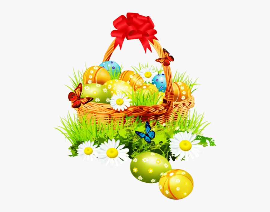 Flower Basket Clipart - Easter Basket Png, Transparent Clipart