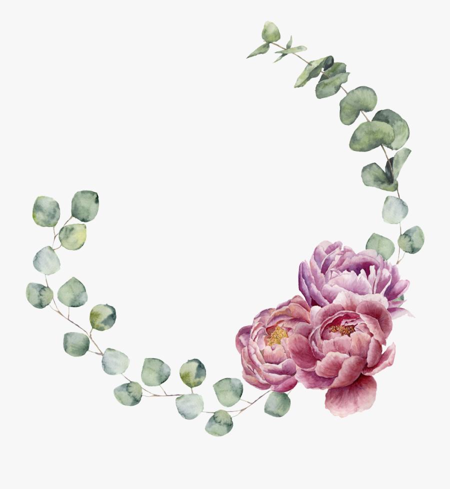 Floral Wreath Watercolor, Watercolor Design, Watercolor - Floral Wreath Border Eucalyptus, Transparent Clipart