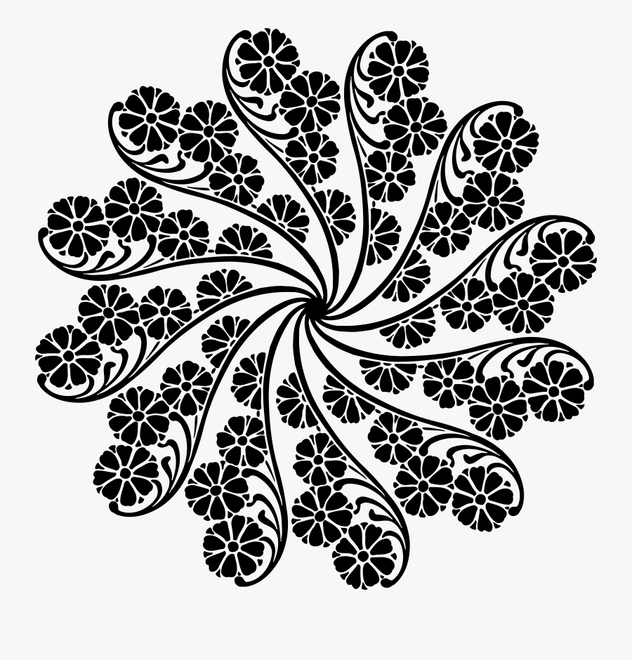 Leaf Garland Flower Free - Black Leaf Pattern Clipart, Transparent Clipart