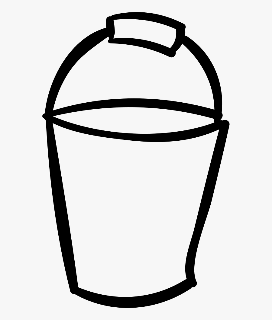 Transparent Bucket Of Water Clipart - Cartoon Bucket Black And White, Transparent Clipart