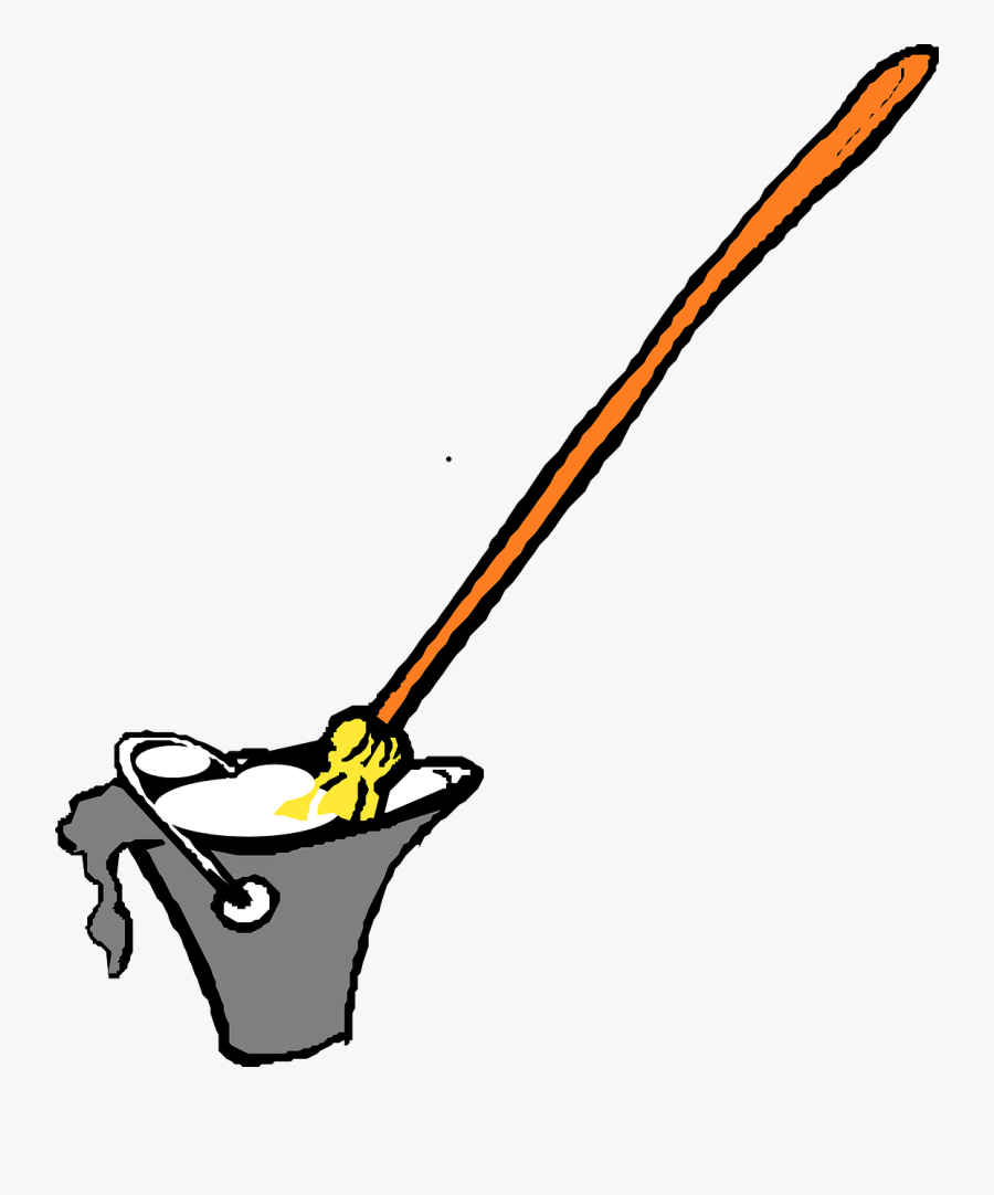 Line,black And White,bucket - Mop And Bucket, Transparent Clipart