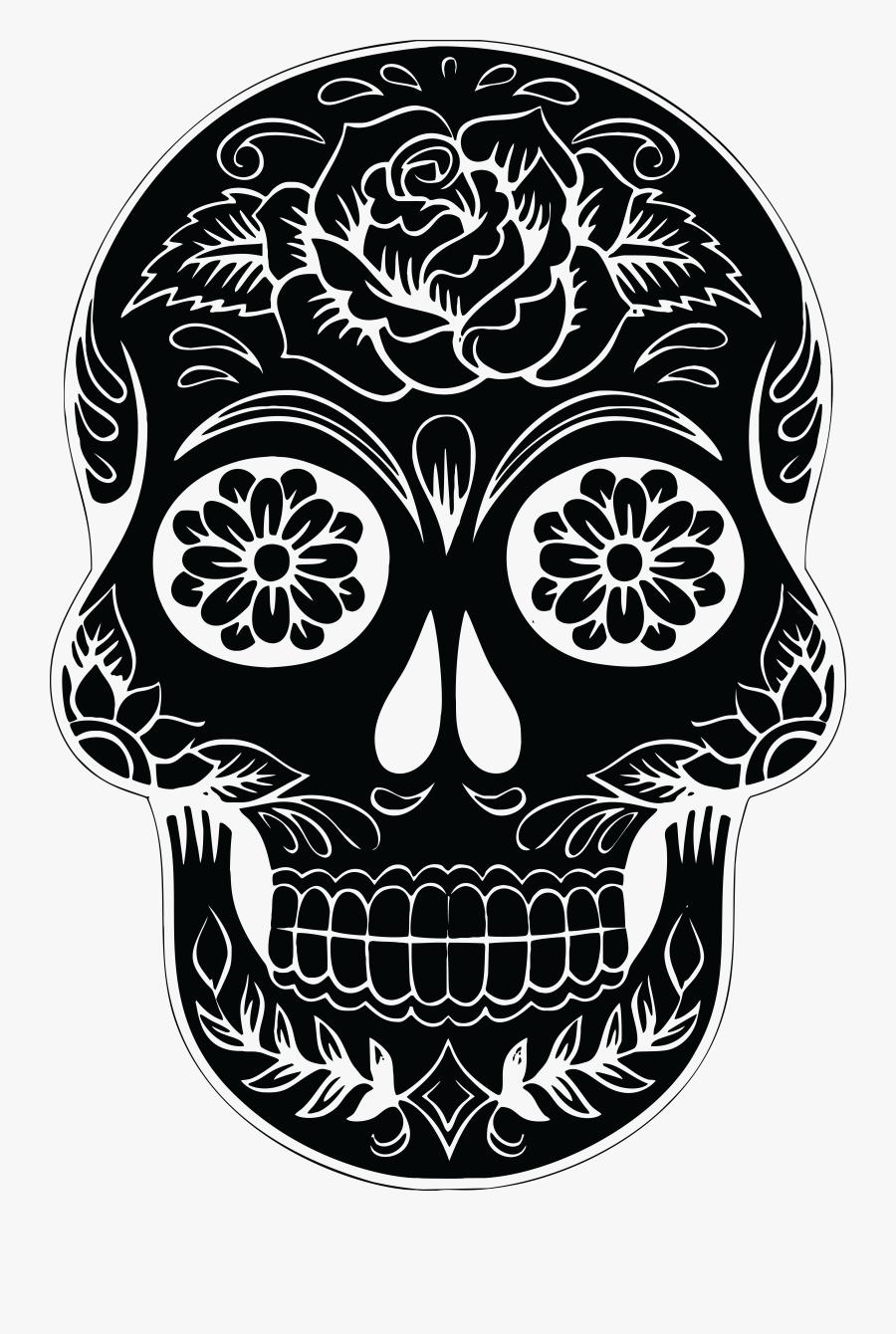 Calavera Skull Silhouette Clip Art - Black And White Sugar Skull, Transparent Clipart
