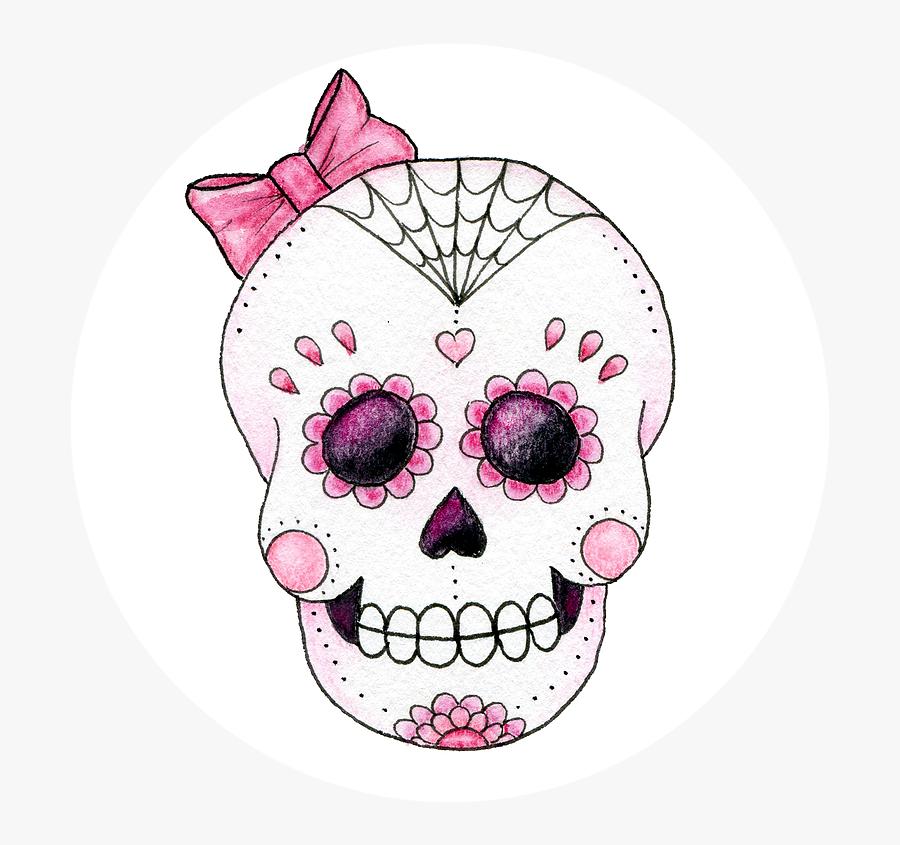 Transparent Skull And Crossbone Clipart - Pink Sugar Skull Bow, Transparent Clipart