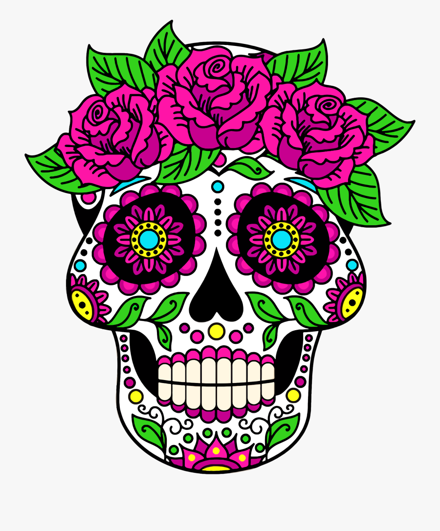 Day Of The Dead Sugar Skull - Sugar Skull Coloring Book For Adults, Transparent Clipart