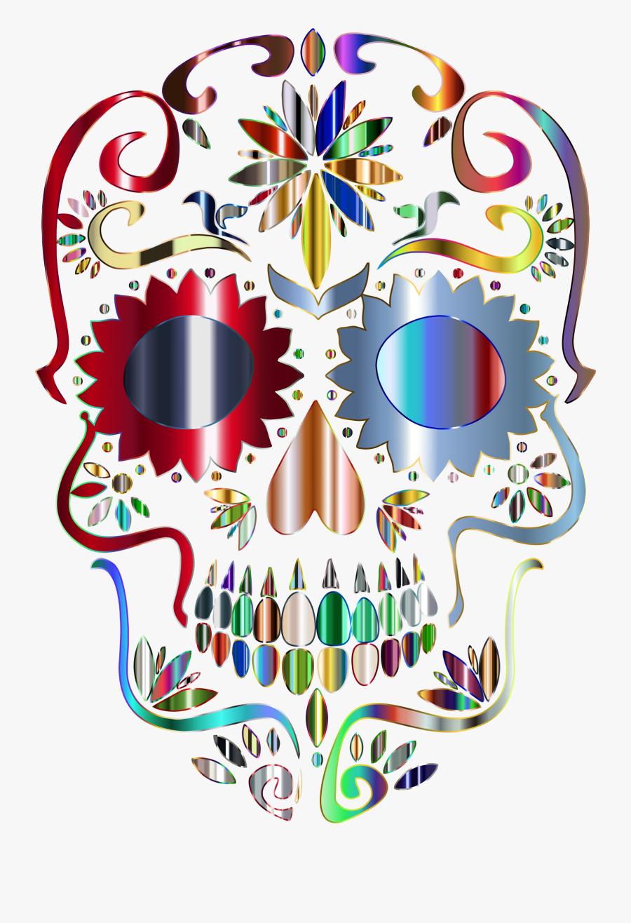 Clipart Prismatic Sugar Skull Silhouette 5 No Background - Sugar Skull Transparent Background, Transparent Clipart