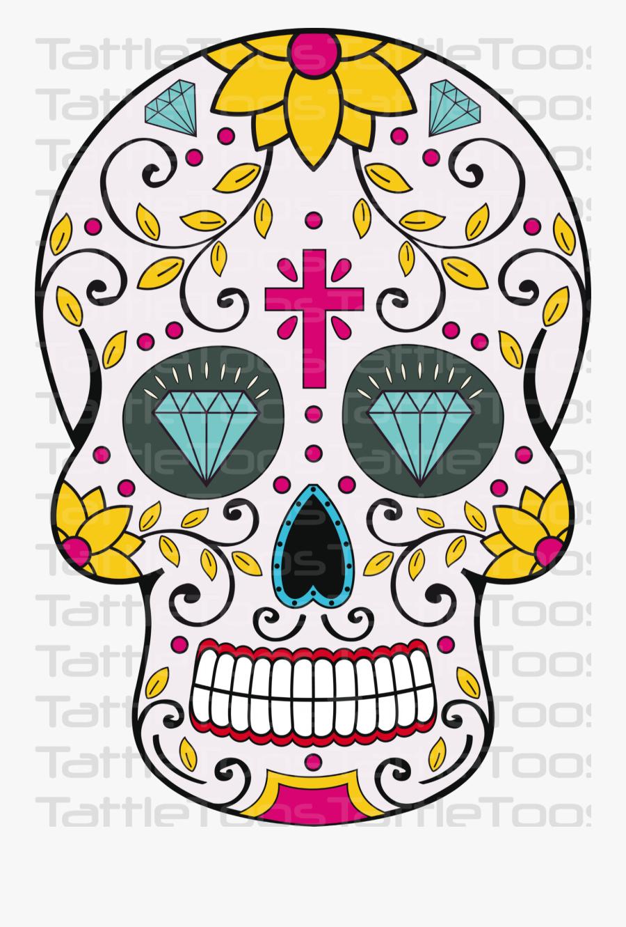 Girly Clipart Sugar Skull - Clip Art Sugar Skull, Transparent Clipart