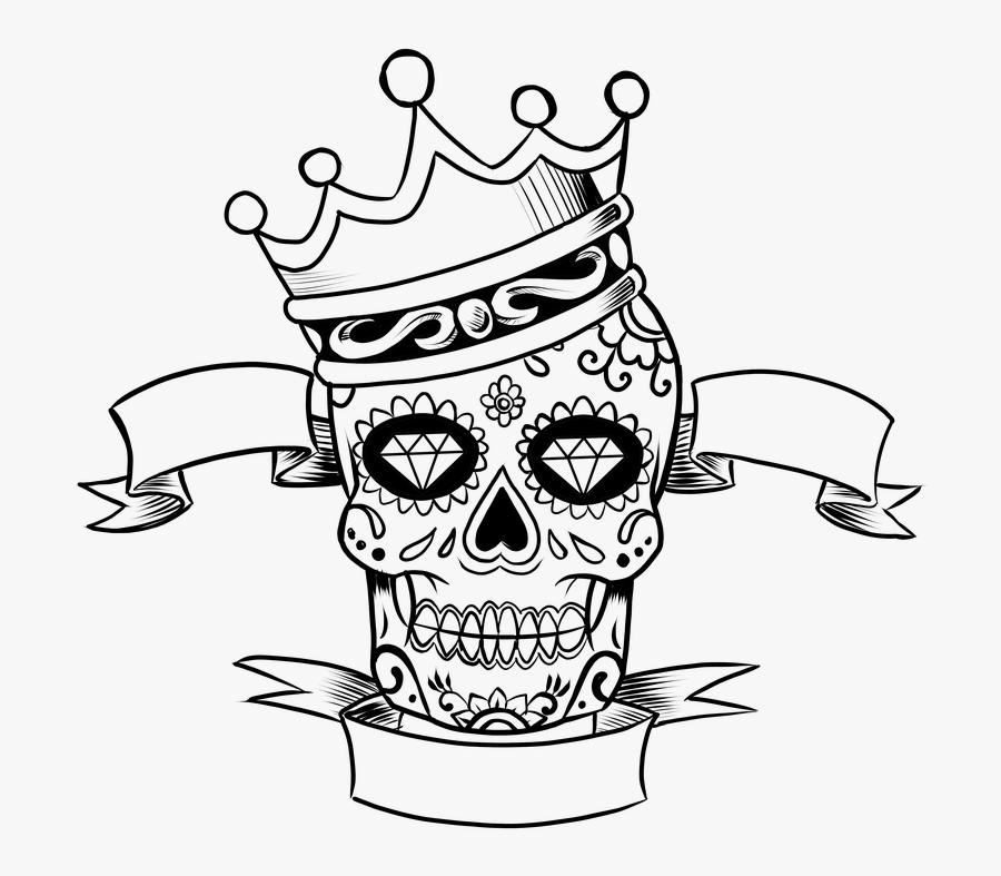Skull Day Of The Dead Tattoo Crown Sugar Skull - Day Of The Dead Skull Drawing, Transparent Clipart