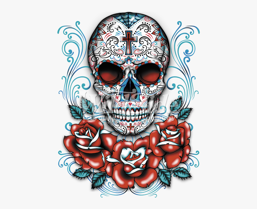 Sugar Skull Clipart Rose - Mexican Skull And Roses, Transparent Clipart