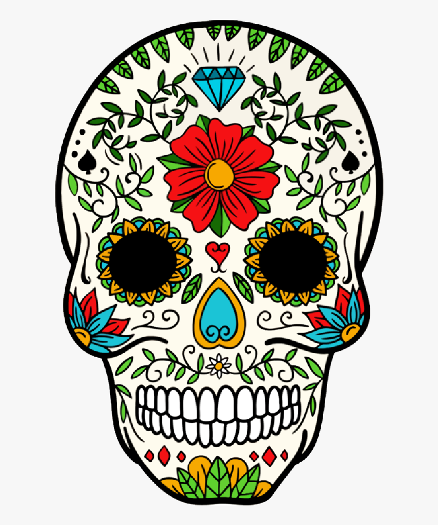 Day Of The Dead Sugar Skull - Day Of The Dead Skull Clipart, Transparent Clipart