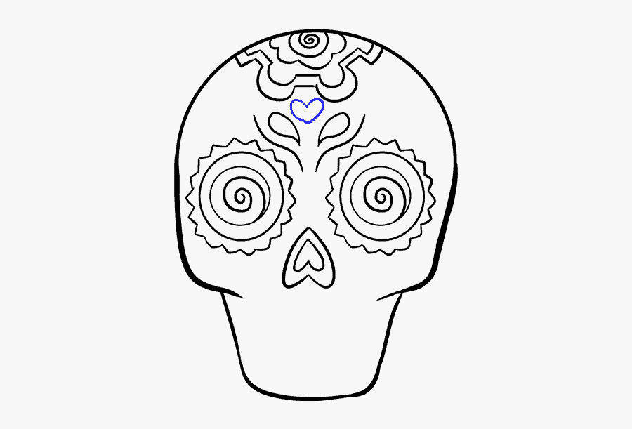 How To Draw A Sugar Skull Step By Step Tutorial Easy - Drawing Sugar Skulls Easy, Transparent Clipart