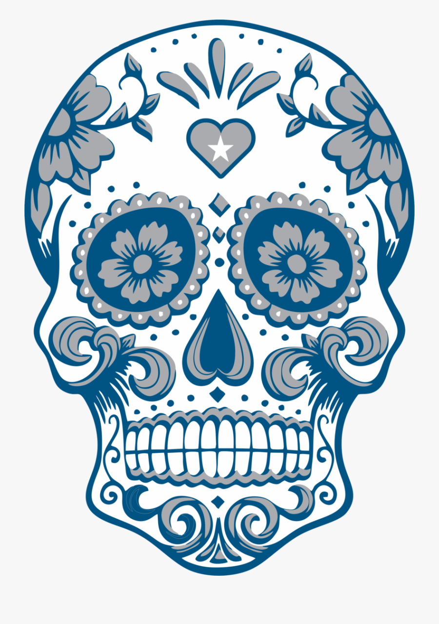 Blue Sugar Skull Clipart, Transparent Clipart