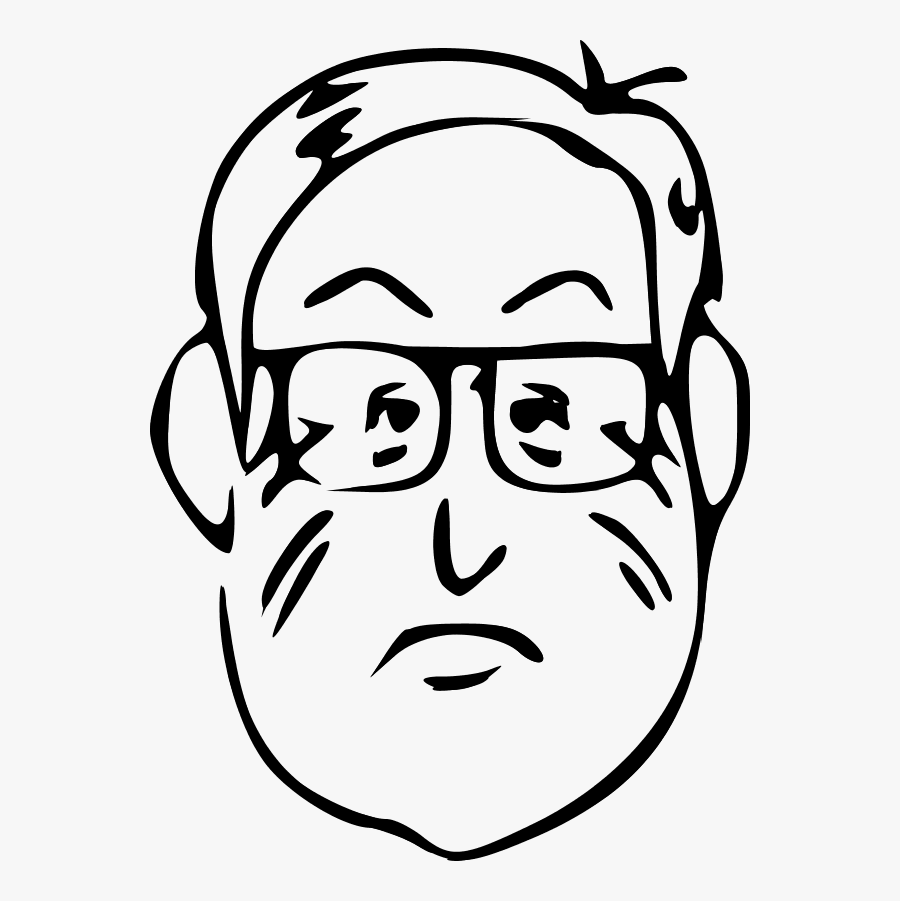 Vector Clip Art - Old Man Face Clipart Black And White, Transparent Clipart