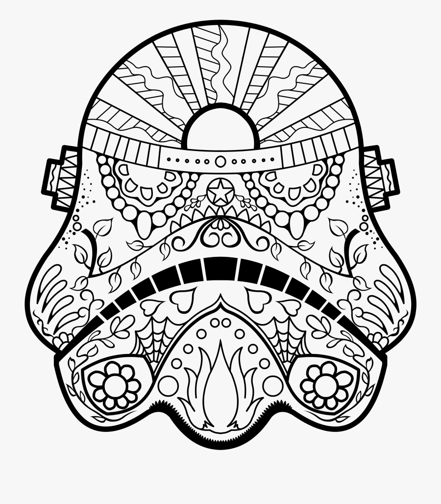 Dark Vader Sugar Skull Coloring Page Az Pages Y O S - Free Printable Starwars Coloring Pages, Transparent Clipart