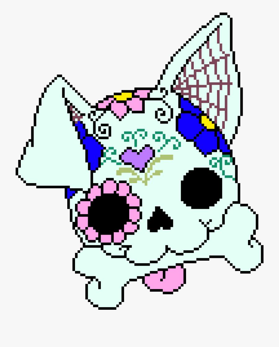 Sugar Skull Dog - Dog Sugar Skull Pixel Art, Transparent Clipart