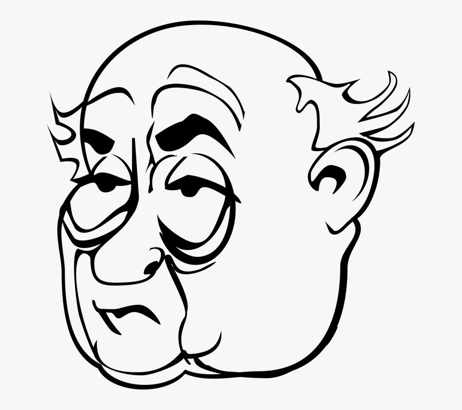 Face, Head, Male, Man, Old Man - Old Man Face Cartoon, Transparent Clipart