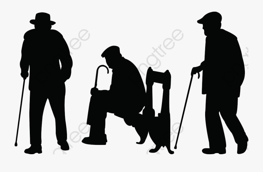 An Old Man Walking Dogs, Man Clipart, Walking Clipart, - Old Man Silhouette Png, Transparent Clipart