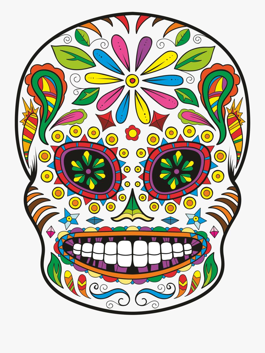 Calavera Day Of The Dead Skull Sticker Decal - Sugar Skull Transparent Vector, Transparent Clipart