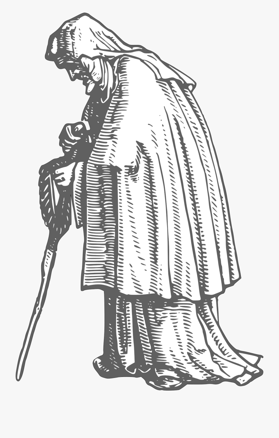 Clip Art Old Woman Clipart Black And White - Medieval Old Man Drawing, Transparent Clipart