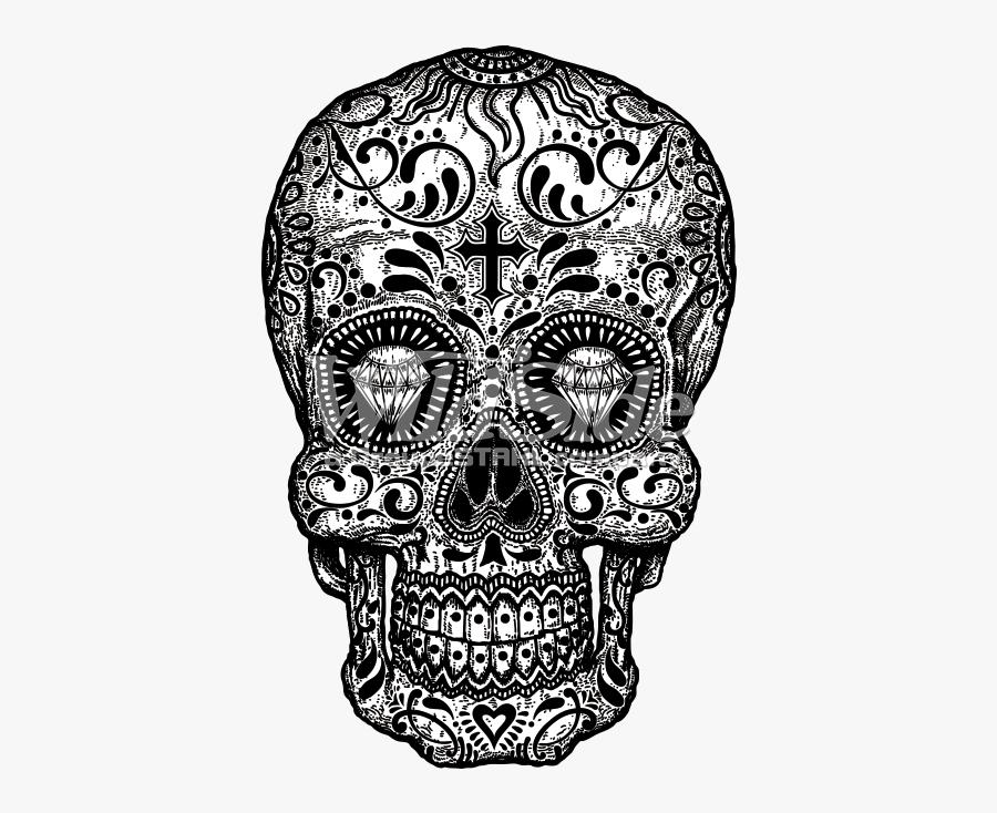 Clip Art Black And White Skull - Sugar Skull Diamond Eye, Transparent Clipart