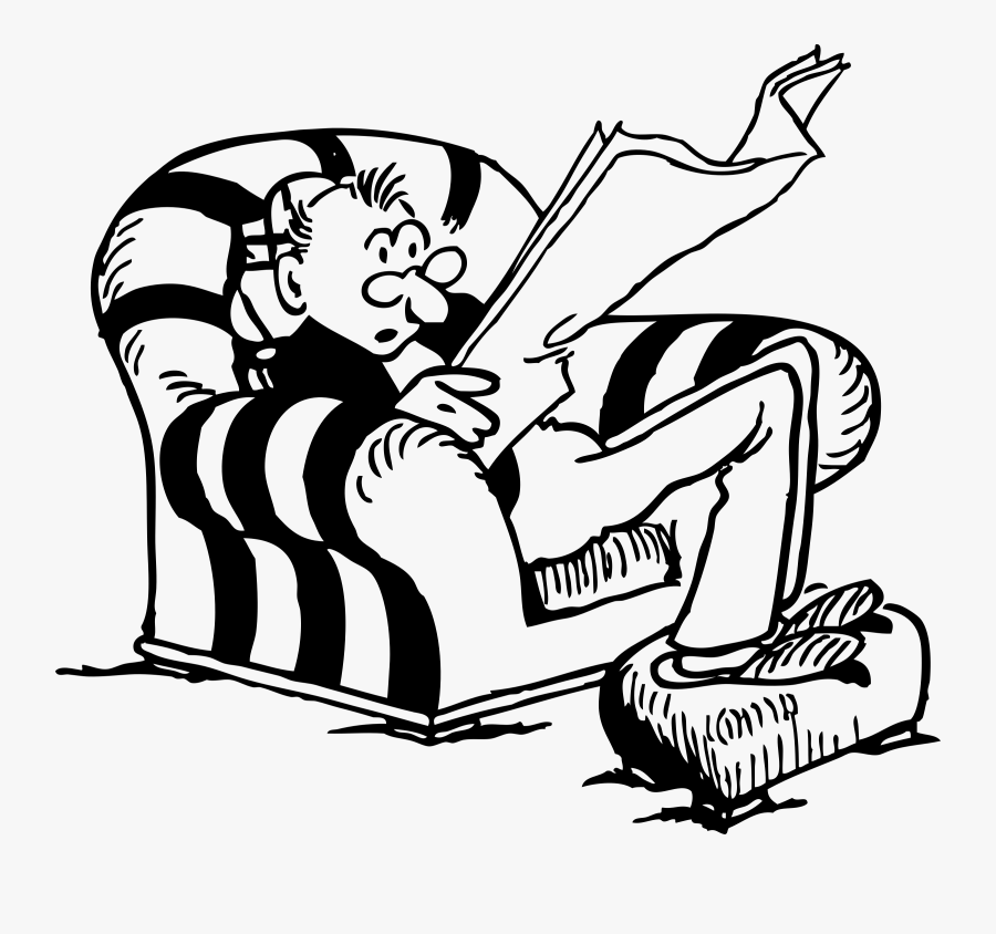 Reading - Newspaper - Clipart - Man Sitting In Chair, Transparent Clipart