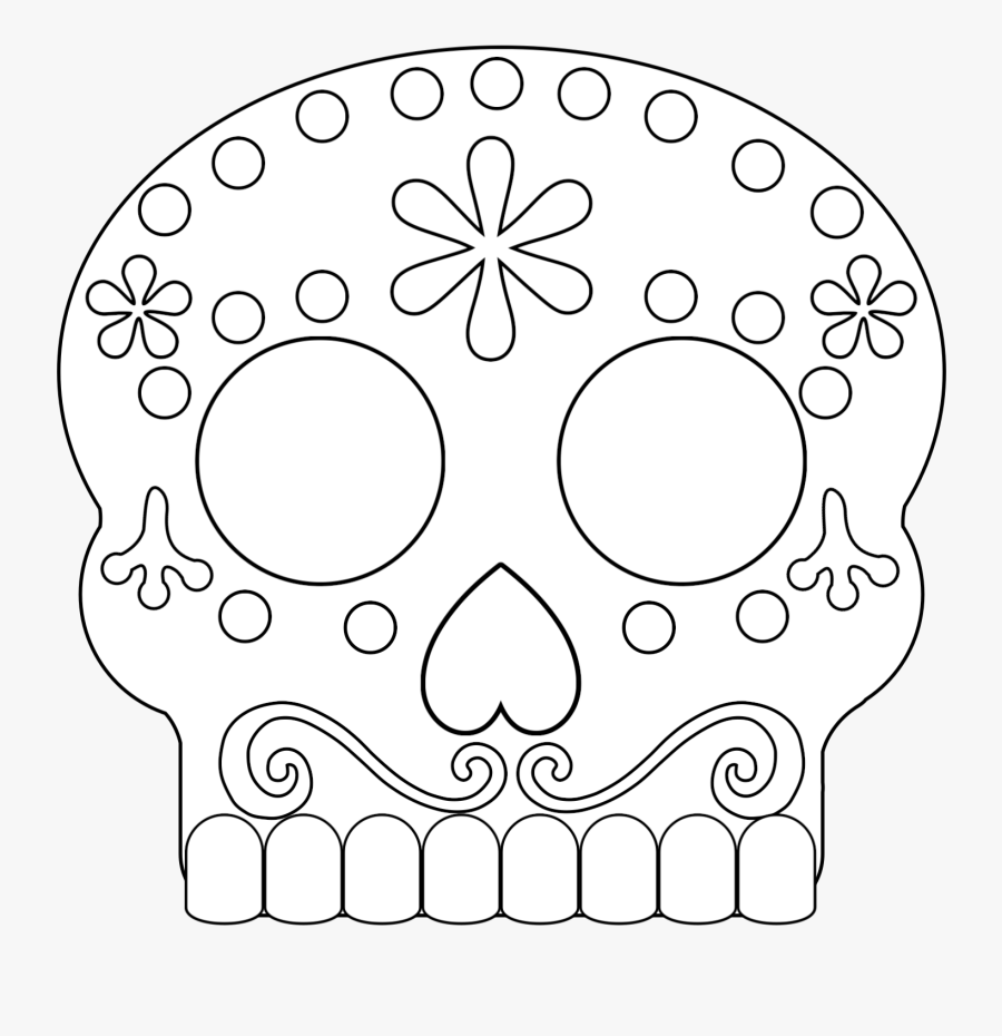 Printable Sugar Skull Mask Template, Transparent Clipart