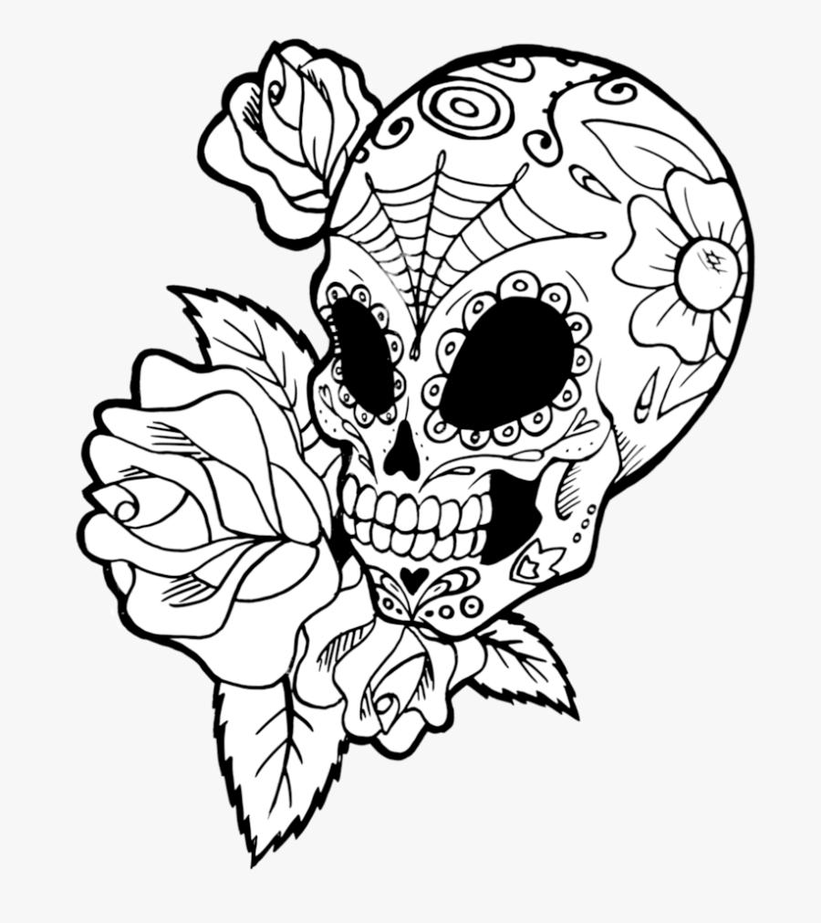 Drawing Detail Sugar Skull Transparent Png Clipart - Transparent Sugar Skull Line Art, Transparent Clipart
