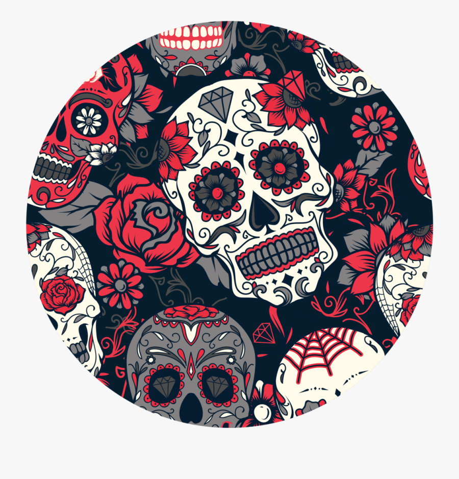 Transparent Day Of The Dead Clipart - Sugar Skull Seamless Pattern, Transparent Clipart