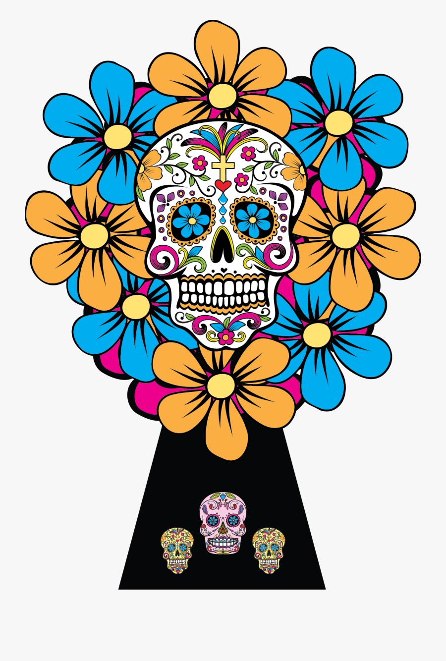 Sugar Skulls Dia De Los Muertos Bouquet - Dia De Los Muertos Original Skull, Transparent Clipart