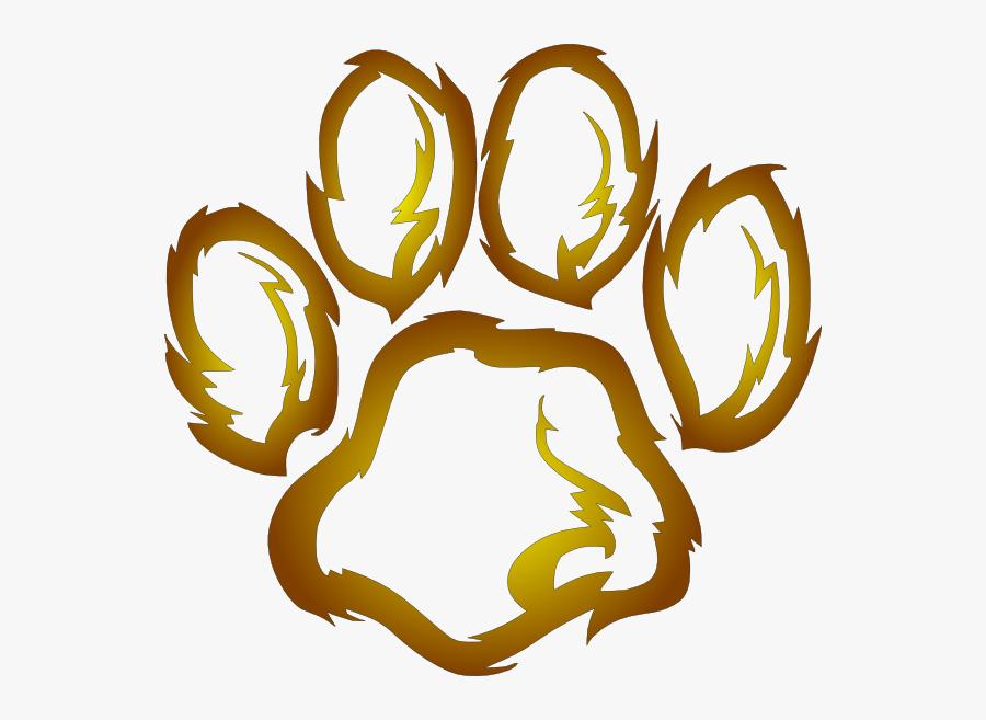 Lion Footprint Clipart Lions Paw Print Clip Art At - Orange Tiger Paw Transparent, Transparent Clipart