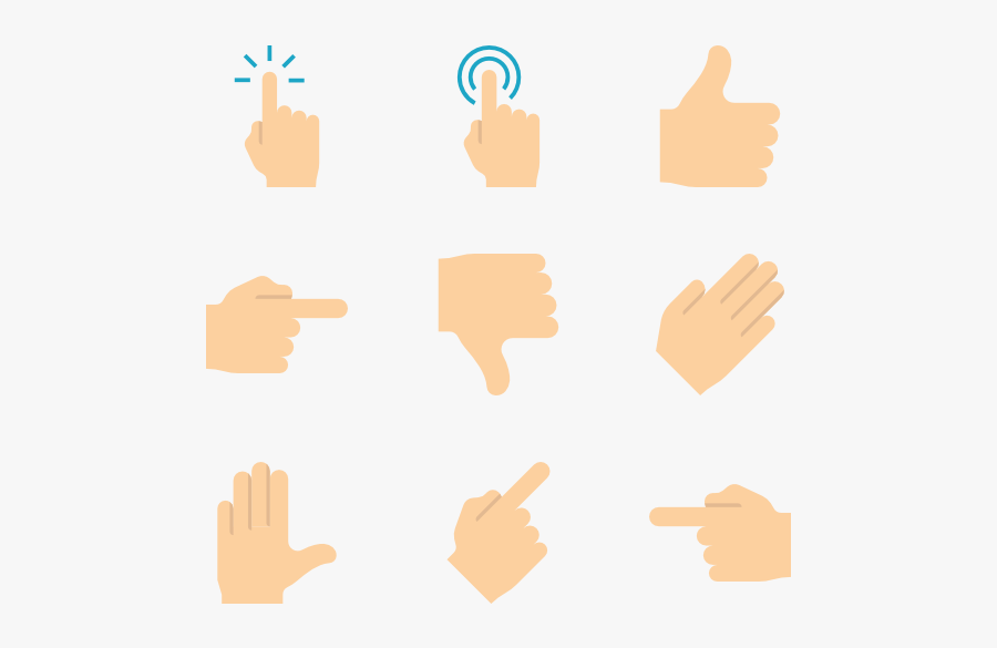 Hands And Gestures - Pointed Finger Vector, Transparent Clipart