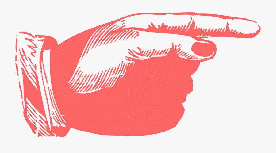 Transparent Red Handprint Png - Vintage Pointing Finger Png, Transparent Clipart