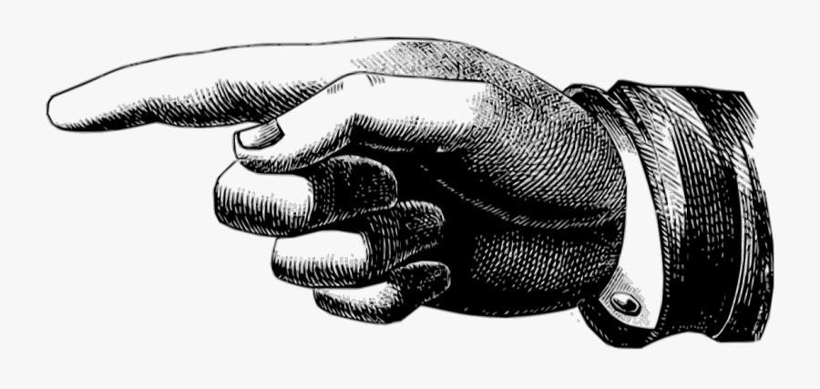 Finger Transparent Victorian - Vintage Pointing Hand Png, Transparent Clipart