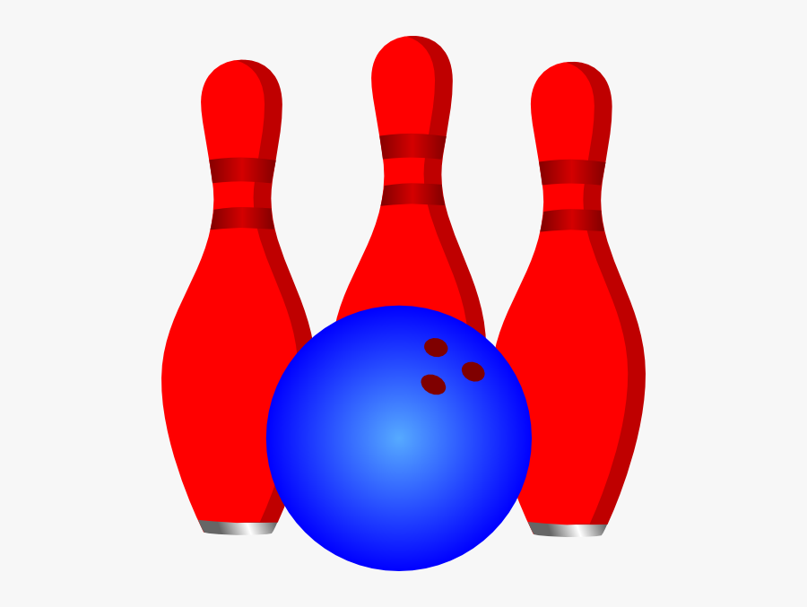 3 Red Pins And Blue Ball Svg Clip Arts - Ten-pin Bowling, Transparent Clipart