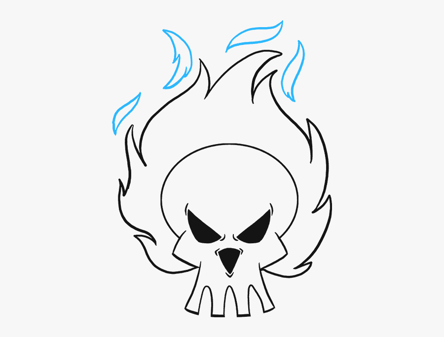 How To Draw A Flaming Skull - Skull With Flames Drawing, Transparent Clipart