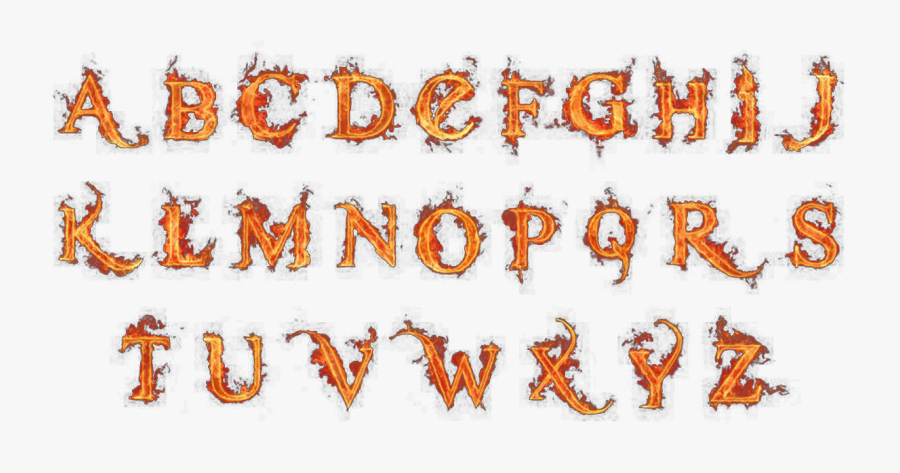 Clip Art Alphabet Letter Flame Fire - Flame Letters Drawing, Transparent Clipart