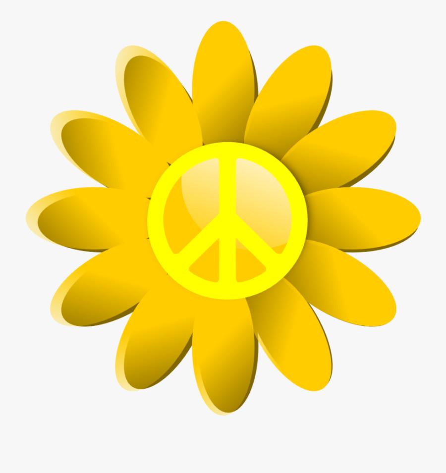 Hippie Clipart Peace Sign - Cartoon Image Of 8 Flowers, Transparent Clipart