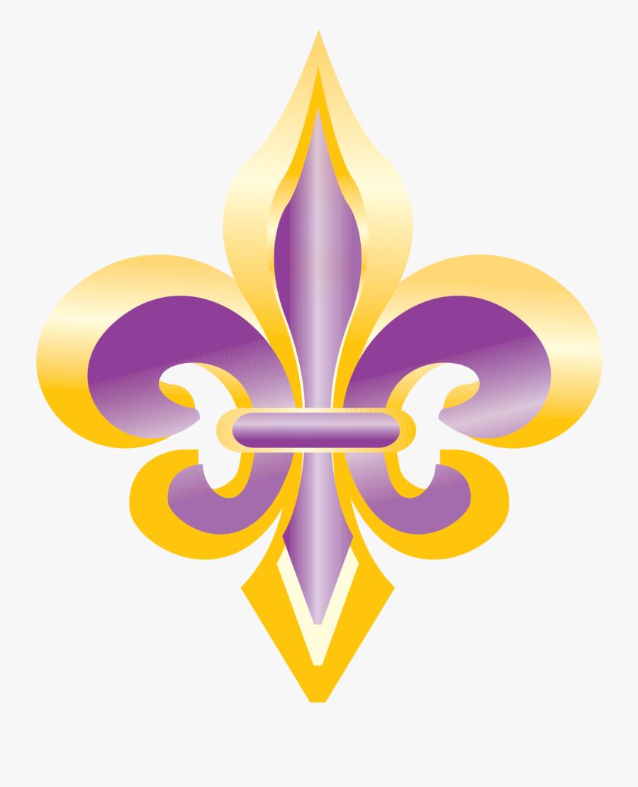 Purple And Gold Fleur De Lis Clip Art - Purple And Gold Fleur De Lis, Transparent Clipart